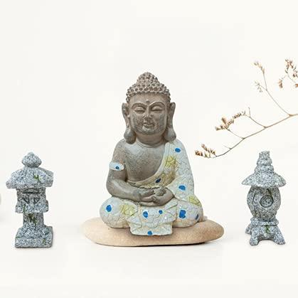 Buddha Statue Decor Set, Mini Zen Garden Figurines, Resin Sitting Zen Buddha Sculptures for Home Outdoor Decor, Bonsai Cacti Succulents & Planter Terrariums Decorations
