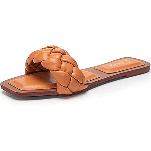 Yokbeer Zapatillas Planas Muller para Mujer Zapatos Casuales con Punta Abierta Sandalias Planas de Playa Zapatillas de Verano para Mujer Al Aire Libre (Color : Yellowish Brown, Size : 37EU)