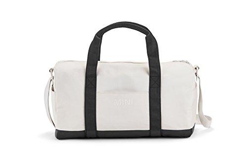 Original Reisetasche von MINI mit Logo 80222445671, wasserdichte Wochenend-Tasche in Weiß-Schwarz