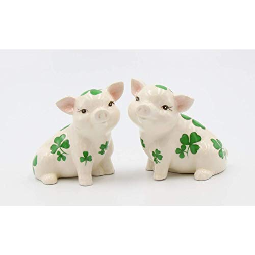 Cosmos Gifts 20789 Shamrock Pigs Salt and Pepper Shaker, 3-1 2 inches high, Green