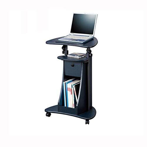 QIDI Laptop-Tisch Falten Stand Schreibtisch Wagen Lager Lapdesk Mausbrett Verstellbare Höhe Abschließbar Sofa Bett Büro Tragbar Beweglich (Farbe : SCHWARZ)
