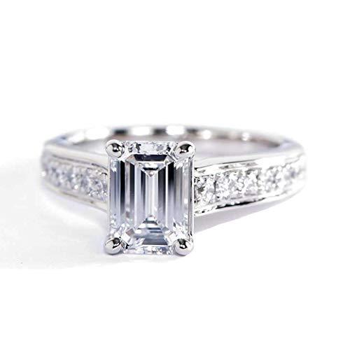 Anillo de compromiso de platino con diamante de esmeralda graduado VS2 D de 1,50 quilates con certificado GIA