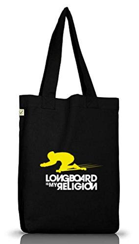 Longboard Is My Religion, Skateboard Jutebeutel Stoff Tasche Earth Positive (ONE SIZE), Größe: onesize,Black