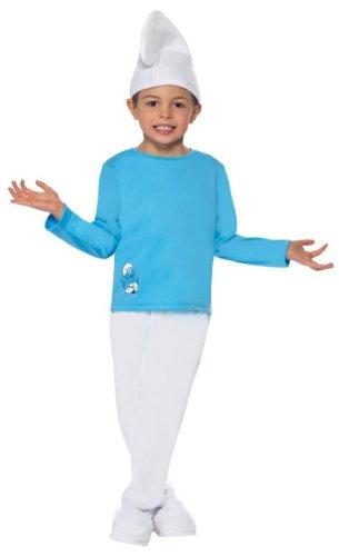 Original Die Schlümpfe Lizenz Schlumpfkostüm Kostüm für Kinder Kinderkostüm der blauen Schlümpfe blau Smurfs Fasching Karneval Gr. 98-104 (T), 110-122 (S), 128-134 (M), 140-158 (L), Größe:M