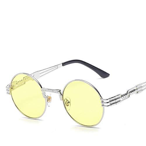 Moda Gafas De Sol Steampunk Hombre, Diseño De Marca, Gafas Redondas con Revestimiento De Cristal para Sol, Metal, Vintage, Retro, para Hombre, Plateado, Amarillo