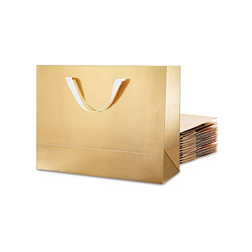 MALICPLUS 12 Large Gift Bags 13x5x10 Inches, Luxury Large Bags with Handles (Cotton) for All Occasions (Gold Glossy Embossing)