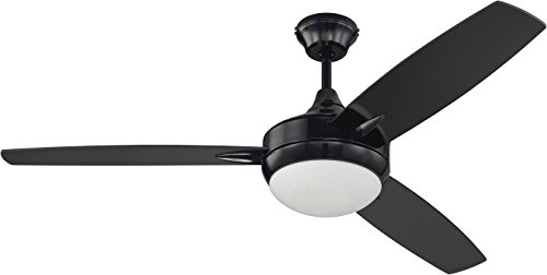 """Targas Modern Triple Mount 52"""" Ceiling Fan with 16 Watts LED Light Kit and Remote Control, 3 MDF Blades, Gloss Black - Craftmade TG52GBK3-UCI"""