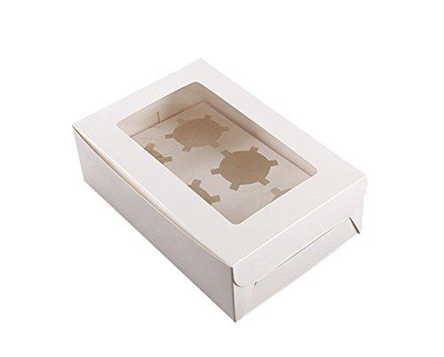 Caja para cupcakes Vipith, con 6agujeros, de color blanco, con tapa transparente, para bodas y fiestas de cumpleaños (10 unidades)