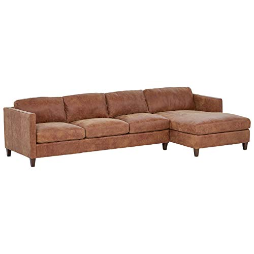 Amazon Brand – Stone & Beam Andover Right-Facing Sofa-Chaise Sectional, 126'W, Saddle-Colored Leather