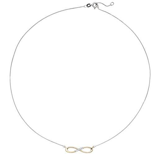 JOBO Damen-Halskette Unendlichkeit aus 585 Gold Bicolor mit 5 Diamanten