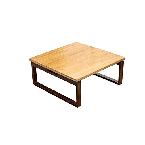 ACUIPP Mesas Laterales de Madera, Mesa de Centro de Bambú Natural Pequeño Balcón Tablas Del Extremo/Escritorio de Estudio para el Estudio Del Hogar Mesa de Portátil para la Oficina en Casa,a,80 * 80*