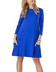 XYJD Lente en zomer vrouwen casual losse lange mouwen trui ronde hals effen kleur zak decoratieve jurk vrouwen