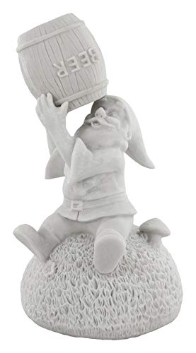 Gnometastic Gnude Gnomes - Unpainted Beer Guzzling Garden Gnome Statue, 8.45' Tall/DIY Paint Your Own Gnome