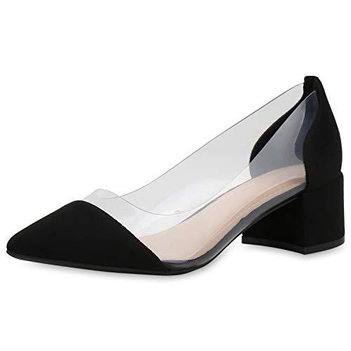 SCARPE VITA Damen Spitze Pumps Transparente Blockabsatz Schuhe Mid Heels Abendschuhe Elegante Absatzschuhe 191757 Schwarz Transparent 36