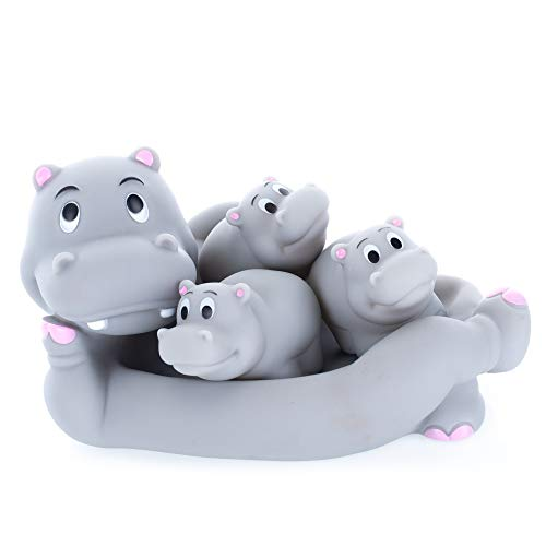 Playmaker Toys Rubber Hippo Family Bathtub Pals - Floating Bath Tub Toy