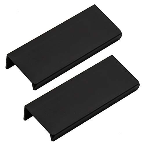 LC LICTOP 80mm/3.15 Black Modern Style Finger Edge Tab Pull Handle Door Knobs Drawer Pulls Aluminum Matte (2Pcs)