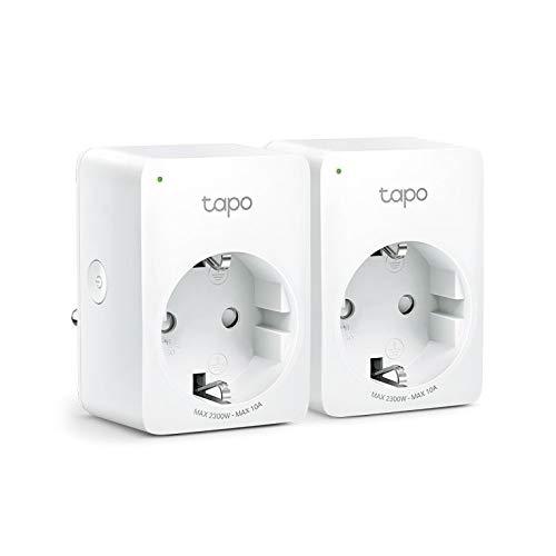 TP-Link - Enchufe WiFi Tapo P100 (FR) 2 Paquetes, Compatible con Amazon Alexa y Google Home para Control de Voz, Control Remoto de Ventilador/lámpara por Smartphone, no Requiere hub