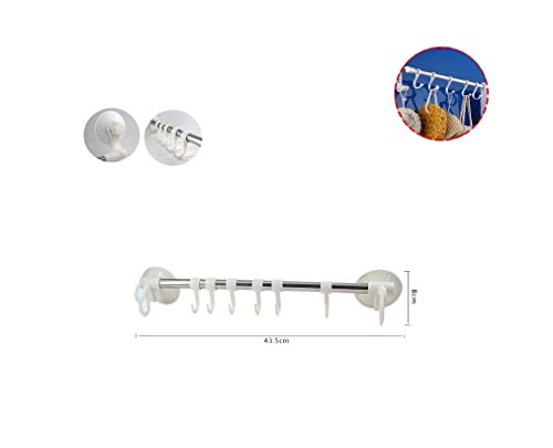 takestop® Hangmat met 6 haken ESY_52354 A zuignap 43,5 x 8 x 6 cm handdoek badjas staal haken kunststof muur accessoires badkamer