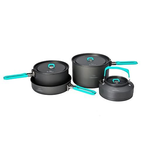 Utensilios para hoguera Juego de vajillas al aire libre Camping Mochilero Picnic 2 Pot 1 Frypan 1 Kettle Alumina Durable Utensilios de cocina Doble Mochileros de utensilios de cocina ( Color : Black )