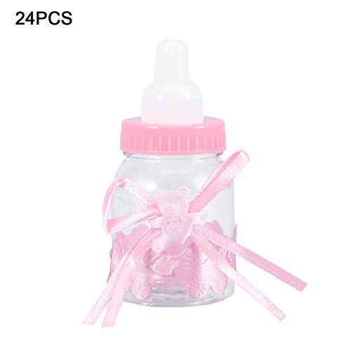 Baby Vulbare fles 24 Stuks Vulbare Flessen Sweet Candy Box Cadeau voor Baby Shower Party Decorations(roze)