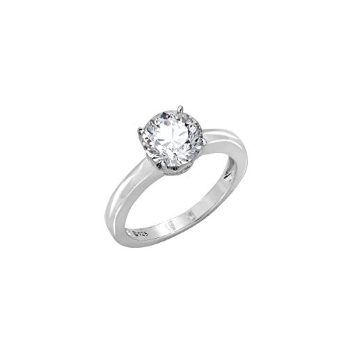 J'ADMIRE 2 ct Swarovski Zirconia Round Solitaire Ring, Platinum-Plated Sterling Silver (8)