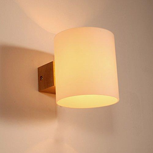 Fu Man Li Limited company Lámpara de pared de madera maciza creativa lámpara de cabecera de dormitorio simple lámpara de sala de estar pasillo balcón entrada escaleras luces A+