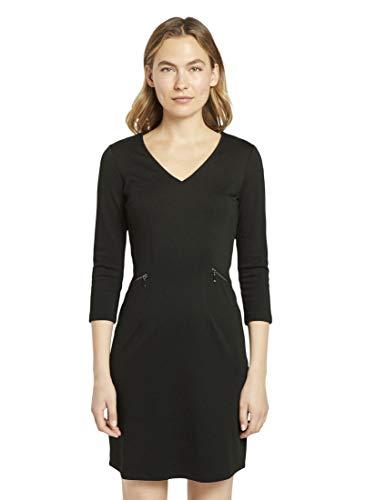 TOM TAILOR Damen Zipper Lässiges Kleid, 14482-Deep Black, 32