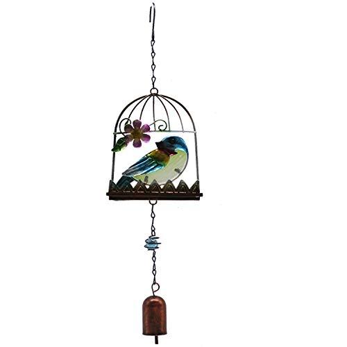 YL-adorn art windspel, tuin en indoor windspel met natuurlijke ontspannende kleuren, vogelkooi blauwe vogels met S-haken voor decoratie kerstmis geschenken