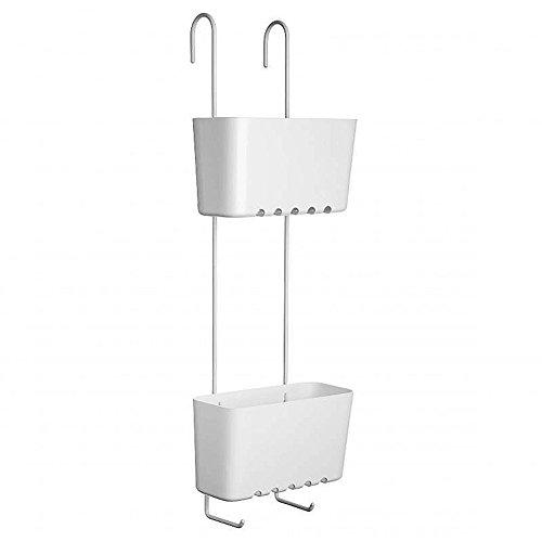 Sanixa TA4522101 Duschregal zum Einhängen | Messing/Kunststoff | 2 Ablagen | rostfrei | Duschablage ohne Bohren | Duschkorb | Wannenablage | stabil