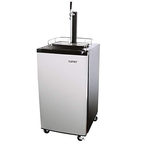 KUPPET Kegerator& Draft Beer Dispenser, Beer Kegerator, Keg Beer Cooler for Party,Compressor Cooling CO2 Regulator Casters, Single-Tap, 3.4 Cu.ft.(Stainless Steel)