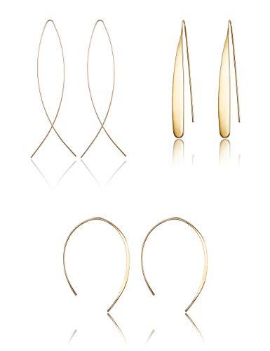 Finrezio 3 Paare Geschwungene Einfädler Ohrringe Für Frauen Mädchen Langer Draht Baumeln Creolen Boho Goldton