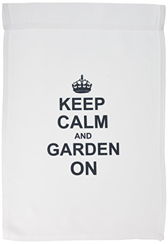 3dRose fl_157726_1 Keep Calm and Garden on-Carry on Gardening-Gardener Gifts-Black Fun Funny Humor Humorous Garden Flag, 12 by 18-Inch