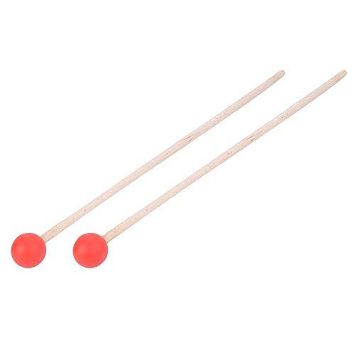 2 piezas de palos de caja, palillos de martillo de fieltro, martillo, madera de arce para xilófono/timbales/tambores(rojo)