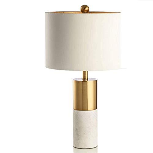 GZQDX Moderne Marmorsäule Tabelle Schreibtischlampe, Marmortisch Dekor-Lampe, weißer Marmor und Messing