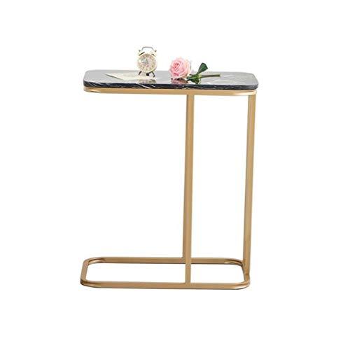 Mesa de Centro Mesa Auxiliar Mesa Centro Pequeña mesa de centro rectangular de mármol labrado del hierro labrado, tabla de lectura simple movible de la tabla de extremo del hogar del ocio Mesa de Cent