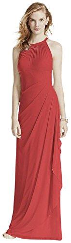 David's Bridal Long Mesh Bridesmaid Dress with Illusion Halter Neckline Style F15662, Guava, 26