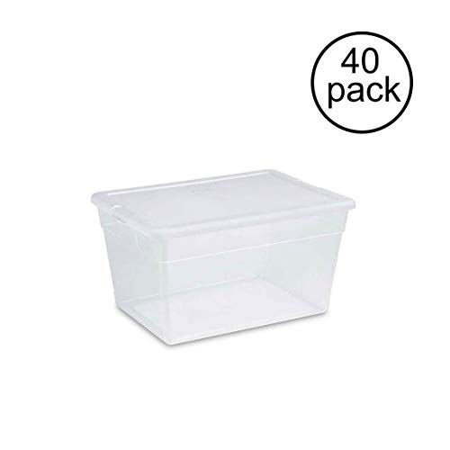 Sterilite 56 Quart Clear Plastic Storage Container Box with Latching Lid (40 Pack)