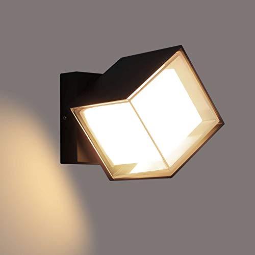 Lightess 12W Außenleuchte LED Wandleuchte Aussen 360 ° Drehung Außenlampe Warmweiss Wand Außenwandleuchte Wandlampe Wasserdicht IP66 Außenbeleuchtung Alu für Außenbreich Outdoor Wall light