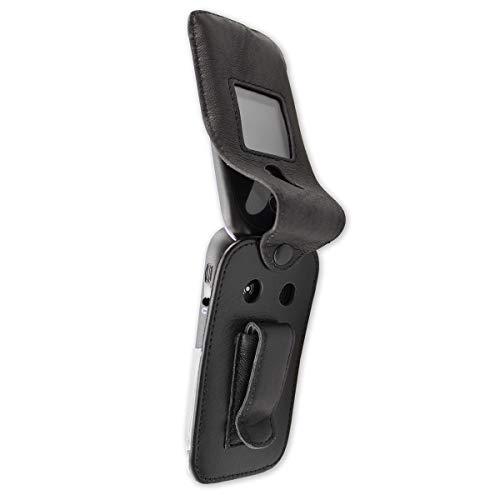 caseroxx Ledertasche mit Gürtelclip für Doro 7050/7060 / 7070 aus Echtleder, Handyhülle für Gürtel (mit Sichtfenster aus schmutzabweisender Klarsichtfolie in schwarz)