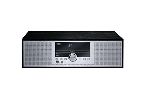 Mac Audio MMC 400 | Mikro-Anlage mit Bluetooth, CD, Sleep Timer, Alarm-Funktion, DAB+ und RDS-Tuner | Holzdekor und Aluminium Front - schwarz