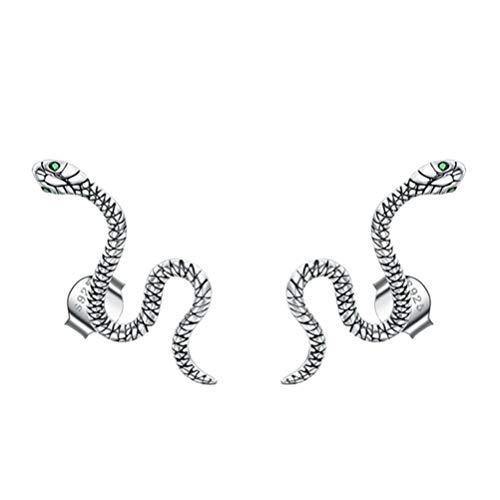 Holibanna Pendientes de Plata de Ley de Serpiente Punk Vintage Pendientes de Cóctel