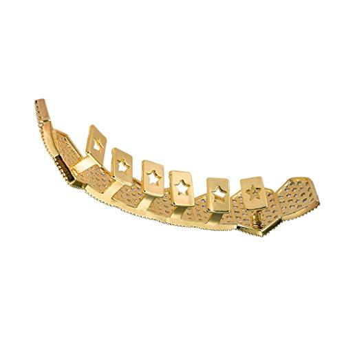 Hellery 18 Karat Vergoldete, Einreihige Hip Hop Micro Pave Crystal Mouth Grills - Gold