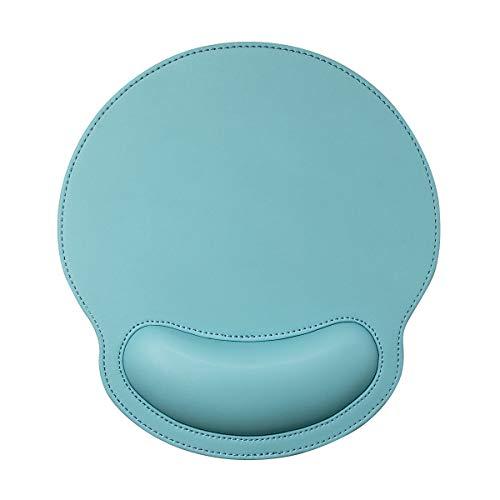 RICHEN Ergonomic PU Leather Mouse Pad with Wrist Support,Comfort Memory Foam,Waterproof Surface,Non- Slip Rubber Base for Computer Laptop & Mac,Lightweight Rest for Home,Office & Travel (Mint Green)
