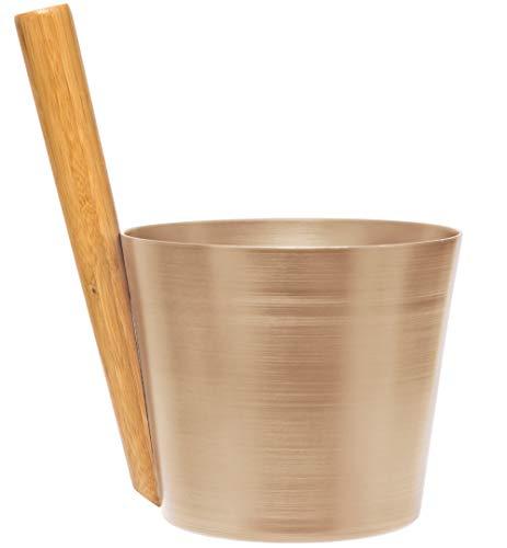 Weigand Saunakübel Aluminium champagner mit Bambusgriff I Saunazubehör I Kübel I Eimer I Sauna I Alu champagner Griff