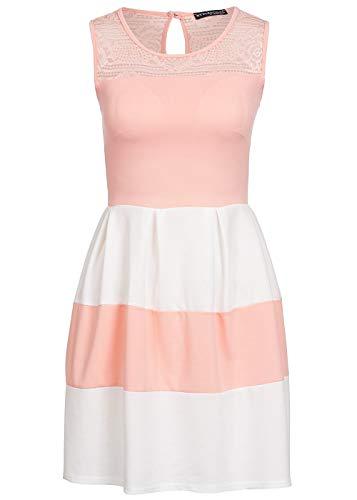 Styleboom Fashion® Damen Mini Kleid Spitze Oben Brustpads gestreift Sommerkleid Rose Weiss, Gr:L
