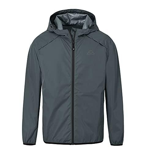 donhobo Chaqueta de lluvia para hombre, resistente al agua, para exterior, entretiempo, cortavientos, senderismo, plegable, con capucha, Hombre, gris, large
