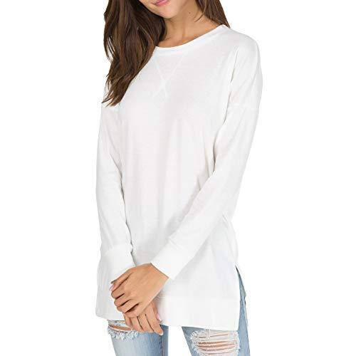 Womens Fall Long Sleeve Sweatshirt Side Split Loose Casual Tunic Tops White L