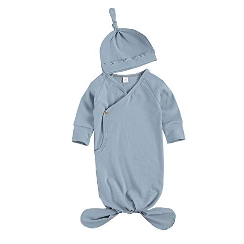 Baby Gown Newborn Cotton Nightgown Long Sleeve Ribbed Sleeping Bag+Hat Baby Boy Girl Coming Home Outfits Set (F-Blue, 0-3 Months)