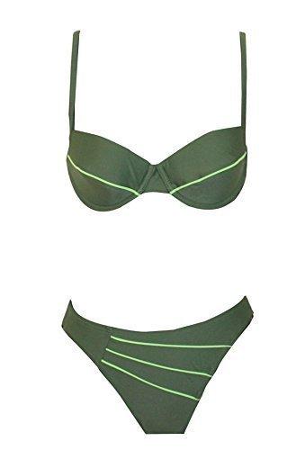 Elemar Dames Zwemkleding Bikini B Cup olijfkiwi versterkt bekabeld - Olijf, 40