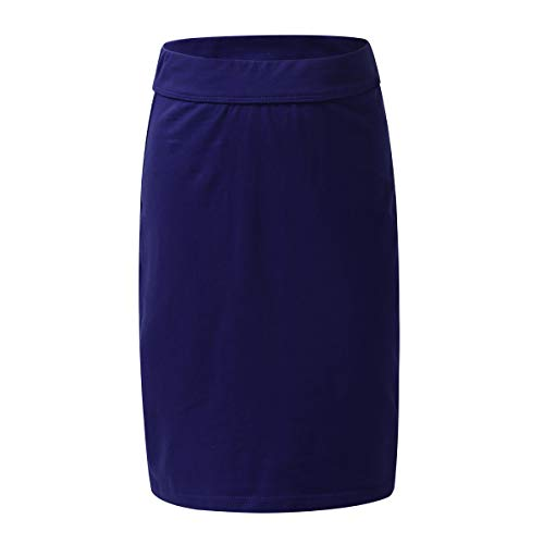 zdhoor Kids Girls Knee Length Skirts Pull-On Pencil Skirt with Elastic Waistband Casual Daily Wear Navy_Blue 6
